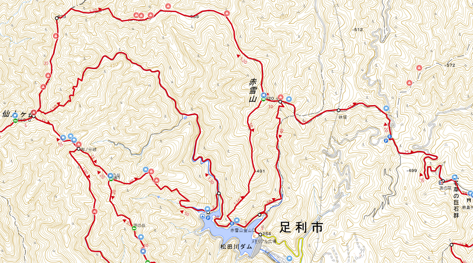 名草巨石群から登山コース